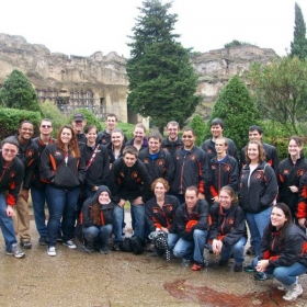 The brothers of Kappa Kappa Psi, during the marching band trip to Pompeii, Italy.