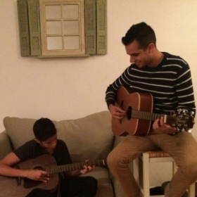 Teaching one of his favorite pop/R&B songs by request