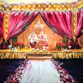 Live Event Painting. Indian wedding ceremony. Oil on canvas