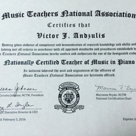 National Certfied Teacher of Music by the MTNA