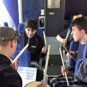 Practicing on the bus!