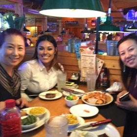 Off location (Road House Grill) teaching English to two women from China (2016)
