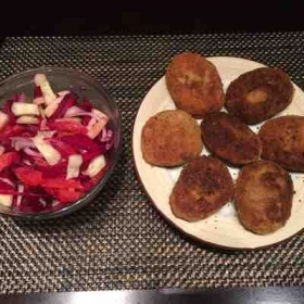 Fish cutlet nd salad