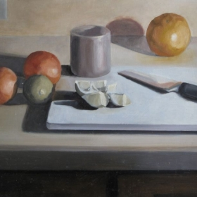 Oil on Wood, 2011. Representational still-life.