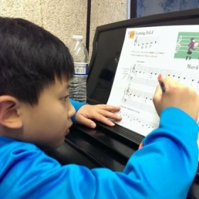 Jayden is doing music theory practice