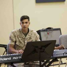 Rehearsing with the Marines, on Camp Pendleton, CA.