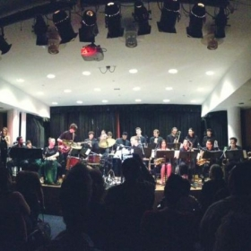 Performing with the New School Afro-Cuban Orchestra directed by Bobby Sanabria