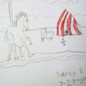 Student: Sydney F. (Age 6) Circus Horse Drawing