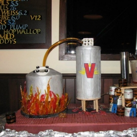 Victory brewing Co. 15 year anniversary cake.  stood 3 feet tall three towers while pouring beer into the picture for 5 hours