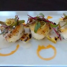 Citrus scallops, coconut reduction, hot chili oil