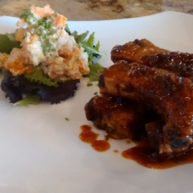Root beer rib sticks, sweet potato salad