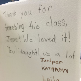 Thank you card made by my students.