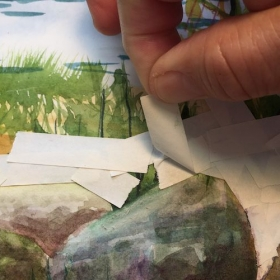"Using tape as a ""resist"" is a helpful technique in watercolor painting."
