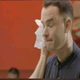 Tom Hanks in the movie Forrest Gump after rehearsal of the Ping Pong scene .