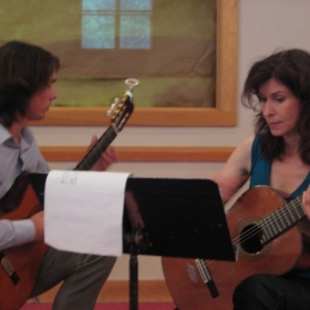 With Sharon Isbin at the Juilliard School