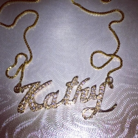 Gold, pave name necklace