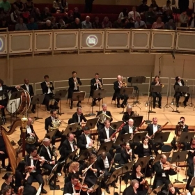 On stage performing with the Chicago Symphony Orchestra