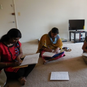 My students giving their exams. Some of them learning English with me.
