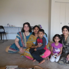 The teacher (Prajakta) with her students.