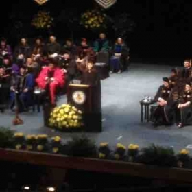 Singing at the University of Akron Commencement Ceremony