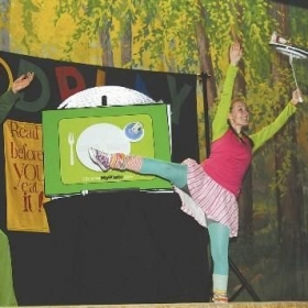 2011-12 FOODPlay! A touring show teaching K-5 the importance of healthy eating habits.  Janey Junkfood.