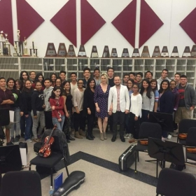 After teaching a master class for the High School Orchestra