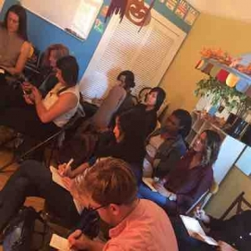 Students at my Songwriting workshop hosted by me, featuring NYC (now Berkeley Based) songwriter-extraordinaire, Tom Rhodes