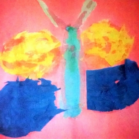 Student. Alexis. A. (Age 11) Tissue Paper Butterfly
