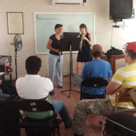 Leading a public woodwind masterclass during my residency in Veracruz, Mexico (2013)
