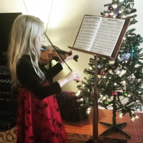 One of my young violinists in the studio at Christmas!