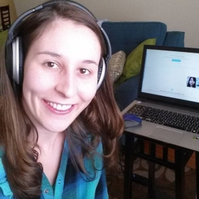 Studying online? This is how the magic happens! All set up with my laptop, Blue Yeti mic, and Bose headphones.
