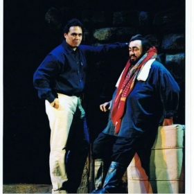Luciano Pavarotti and I on the set of Tosca in London's Covent Garden.