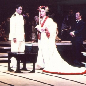 Singing Pinkerton in Madama Butterfly with soprano Maria Ewing at Los Angeles Opera.