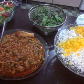 Khoresh Gheymeh, Lamb and rice