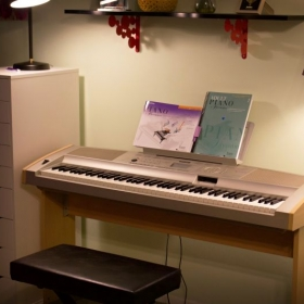 Piano lessons in my studio make use of a Yamaha electric piano. My studio is equipped with a/c and seating for parents.