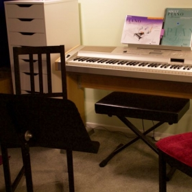My home studio setup for oboe lessons. Studio is equipped with a/c and seating for parents.
