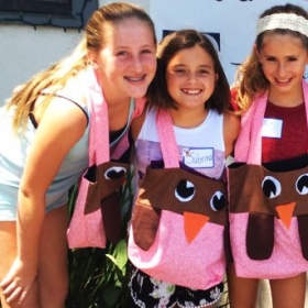 Some of my amazing students and the owl purse tote we did together.