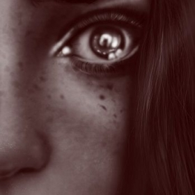 This is a cropped version of a digital painting I've done with a Wacom drawing tablet using Photoshop CS5.