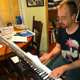 Bill is preparing his original rock song, Poster Child, (developed in lessons), for the Spring Recital rock band.