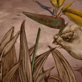 "Film Still from Thesis Project ""Sojourner"" (charcoal, acrylic and chalk pastel)"