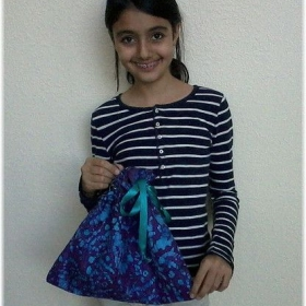 One of my students.She made the lined drawstring bag shown.