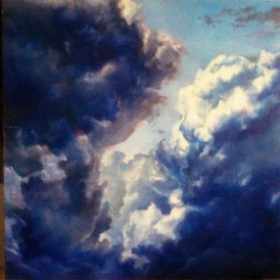 "Clouds; oil/canvas; 12"" x 12"""