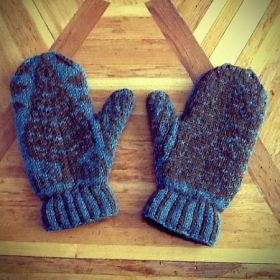 Mittens knitted by Emily H.