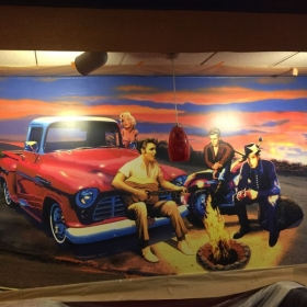 Restaurant mural on canvas