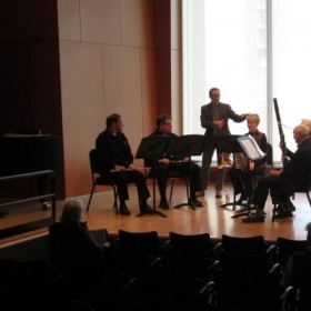 Coaching an amateur wind quintet at the MacPhail Center in Minneapolis, MN while on tour with the City of Tomorrow