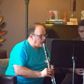 Teaching a clarinet lesson with a student of mine. He is really progressing in his abilities.