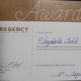 Cosmetology Degree Award from Regency Beauty Institute