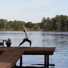 Beautiful day by the lake practicing yoga in Tarpon Springs, FL