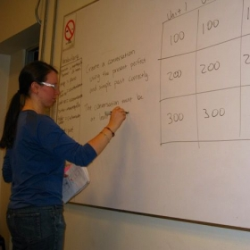 "Review ""Jeopardy"" for one of my English classes in Santiago, Chile."