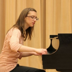 Me in the recital hall at Snow. Was a fun to place to practice at 2 a.m. when I couldn't sleep :).